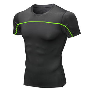 Mens Cool Quick Dry Baselayer Tops Compression Underwear T-shirts Sports Short Sleeve Tights Outdoor Fitness Shirts