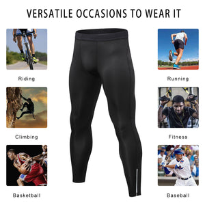 Mens Compression Pants Waist Elastic Ankle Zip Leggings Running Workout Sports Yoga Tights Athletic Activewear Baselayer