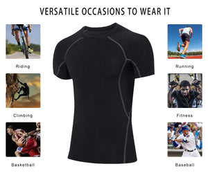 Men Running Athletic Shirt Quick-drying Lightweight Breathable Workout Compresssion Top