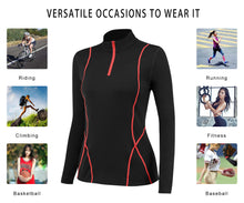 Carregar imagem no visualizador da galeria, Women Thermal Tops Long Sleeve Quick-dry Breathable Workout Running Compression Shirts