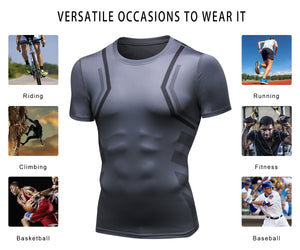 Mens Cool Dry Comrpession Short Sleeve Shirts Tummy Control Muscle Trainer Athletic Baselayer Sports Active T-Shirts