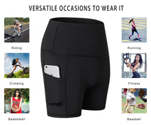 Carregar imagem no visualizador da galeria, Womens Yoga Shorts High Waist Compression 3 Inch Inseam Leggings Baselayer Running Sports Athletic Pants with Pockets