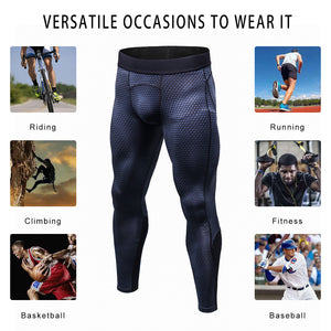 Mens Compression Pants 3D Snake Skin Printed Running Tights Quick Dry Performance Workout Leggings Yoga Gym Base Layer