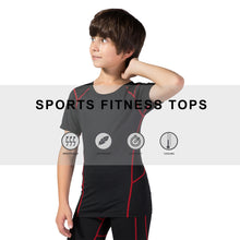 Load image into Gallery viewer, Youth Boys Sports Active Workout Short Sleeve Tech T-Shirts Performance Crew Neck Top