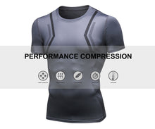 Carregar imagem no visualizador da galeria, Mens Cool Dry Comrpession Short Sleeve Shirts Tummy Control Muscle Trainer Athletic Baselayer Sports Active T-Shirts