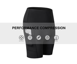 Womens Yoga Shorts with Pocket High Waist Workout Running Compression Leggings 7 Inch Inseam Tummy Control Baselayer