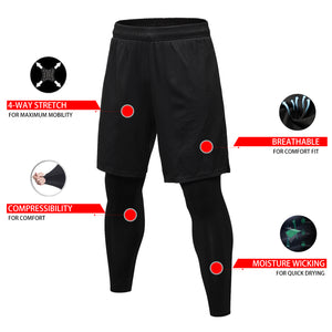 Mens 2 in 1 Compression Pants Running leggings Workout Shorts with Pockets