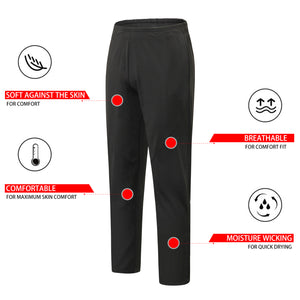 Mens Athletic Sweatpants with Pockets Workout Running Tapered Zipper Pants