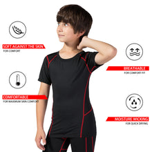 Carregar imagem no visualizador da galeria, Youth Boys Sports Active Workout Short Sleeve Tech T-Shirts Performance Crew Neck Top