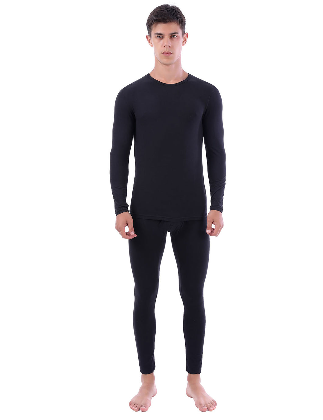 Mens Thermal Underwear Set Soft Long Johns Crew Neck Tops & Bottoms
