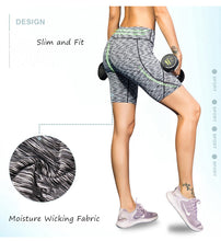 Carregar imagem no visualizador da galeria, Womens Compression Running Leggings Athletic Yoga Shorts with Pockets