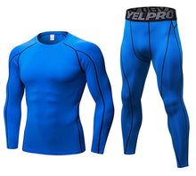 Load image into Gallery viewer, Mens Workout Compression Set Pants and Long Sleeve Shirts Base Layer