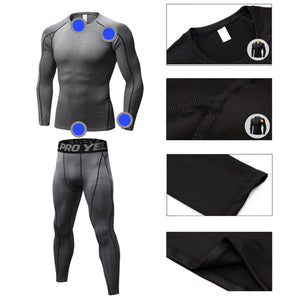 Mens Workout Compression Set Pants and Long Sleeve Shirts Base Layer