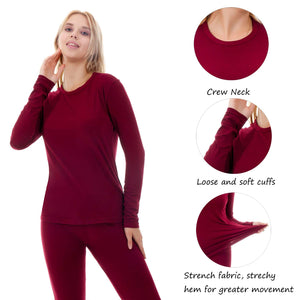 Women Stretch Thermal Underwear Top Long Sleeve Soft Long Johns Shirts