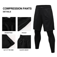 Carregar imagem no visualizador da galeria, Mens 2 in 1 Compression Pants Running leggings Workout Shorts with Pockets