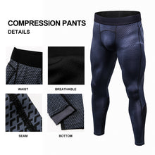 Load image into Gallery viewer, Mens Compression Pants 3D Snake Skin Printed Running Tights Quick Dry Performance Workout Leggings Yoga Gym Base Layer