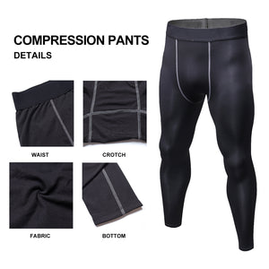 Mens Thermal Compression Tights Sports Leggings Fleece Winter Base Layer