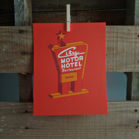 8x10 City Motor Hotel Screen Print