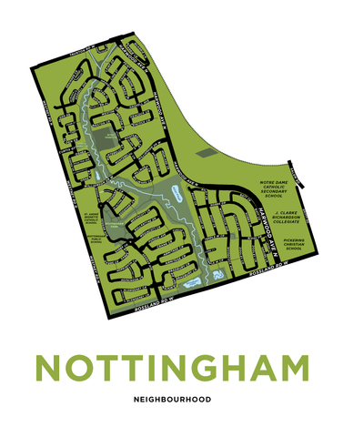 Nottingham Neighbourhood Map Print