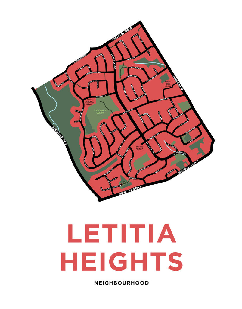 Letitia Heights Neighbourhood Map Print