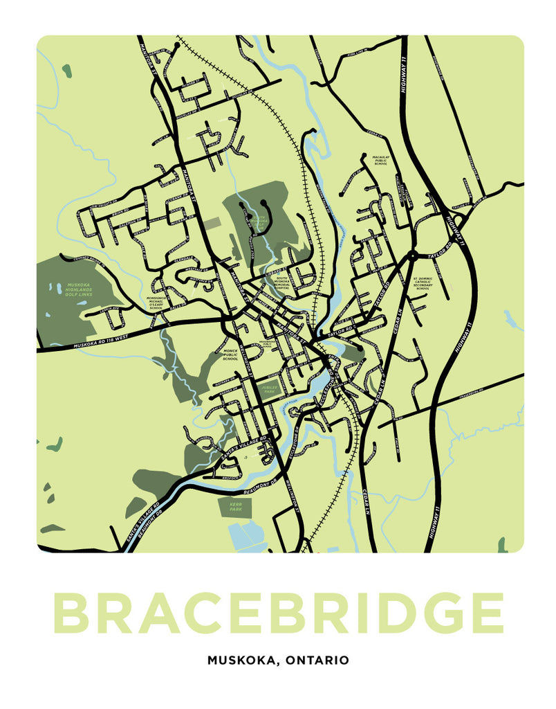 Bracebridge Map Print