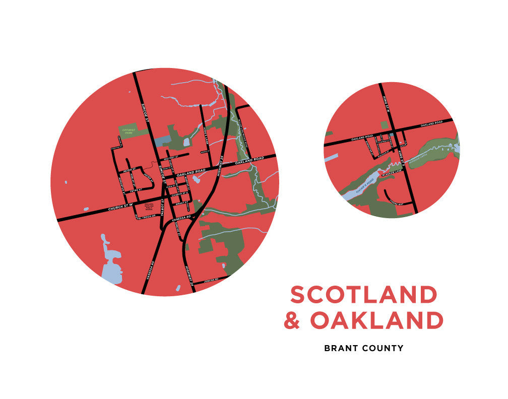Scotland and Oakland Map Prints