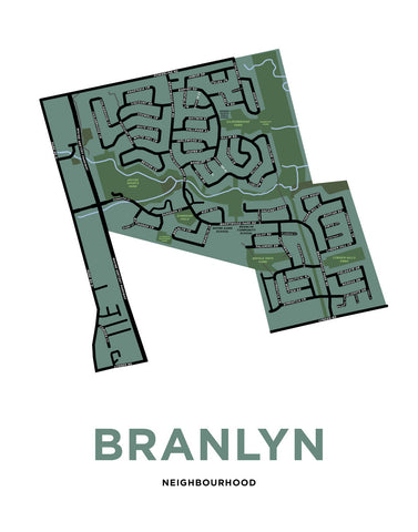 Branlyn Neighbourhood Map Print