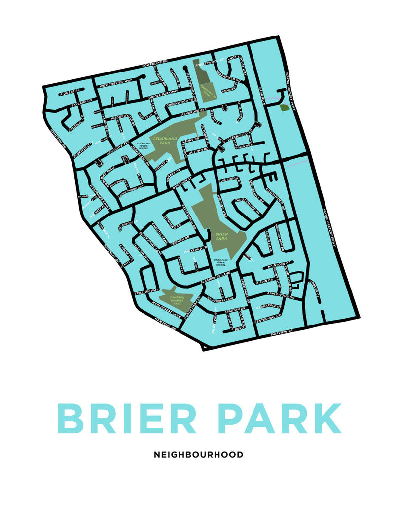 Brier Park Neighbourhood Map Print