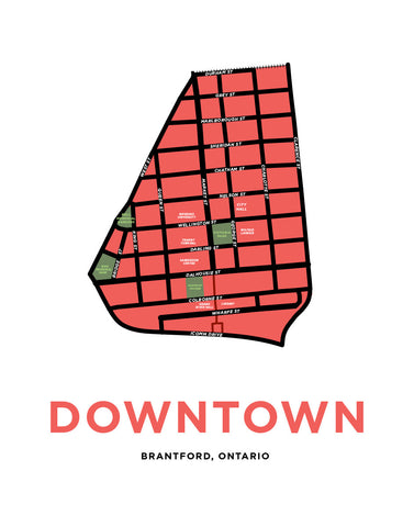 Downtown Brantford Neighourhood Map Print