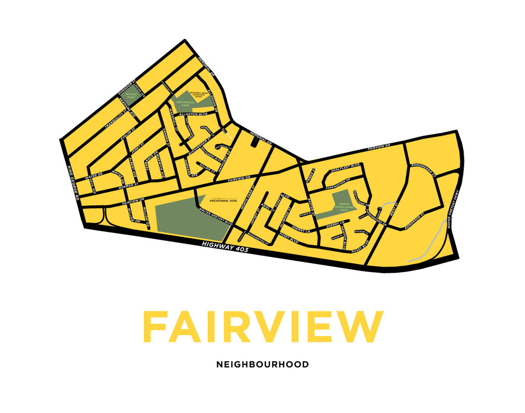 Fairview Neighbourhood Map Print (Brantford)