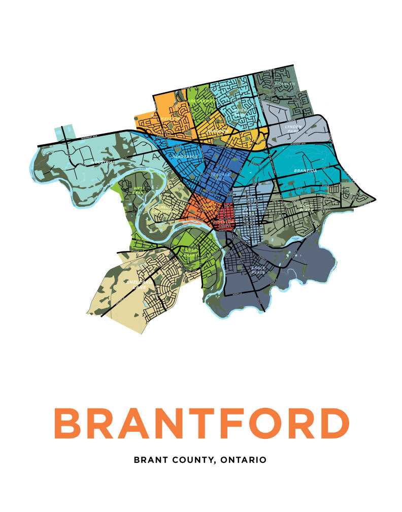 Brantford Neighbourhoods Map Print
