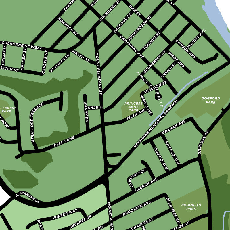 West Brant Neighbourhood Map Print Jelly Brothers
