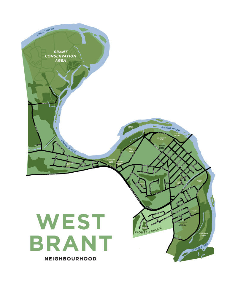 West Brant Neighbourhood Map Print