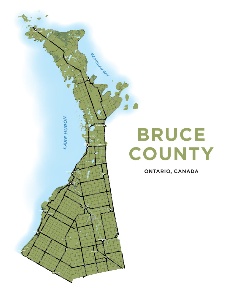 Bruce County Maps Bruce County Map Print – Jelly Brothers