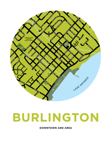 Burlington Downtown Map Print