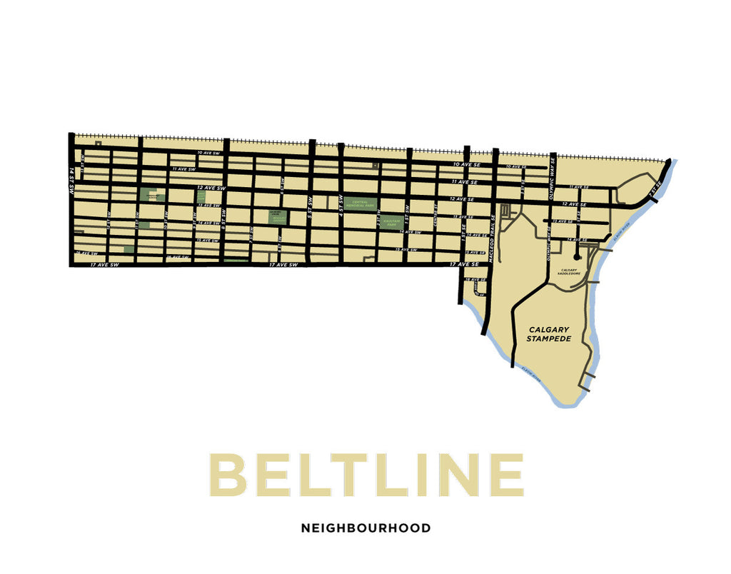 Beltline Neighbourhood Map Print (Calgary)
