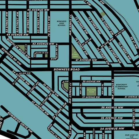 Bowness Neighbourhood Map Print