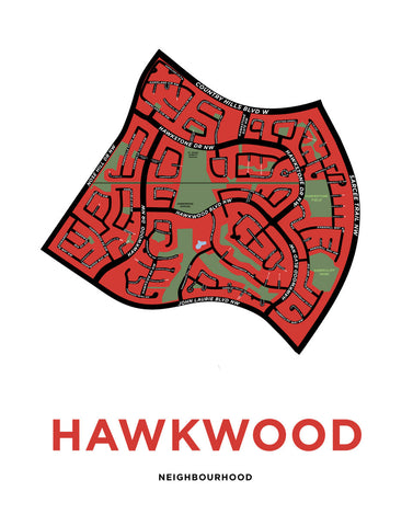 Hawkwood Neighbourhood Map Print