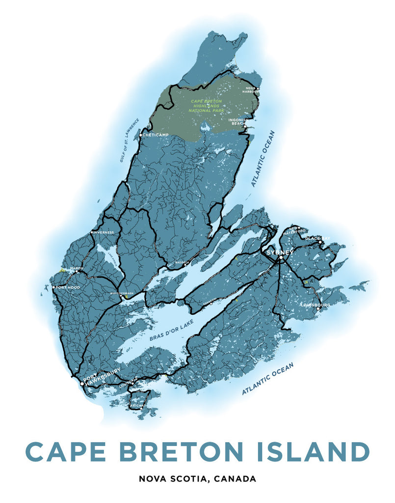 Cape Breton Island, Nova Scotia Map Print