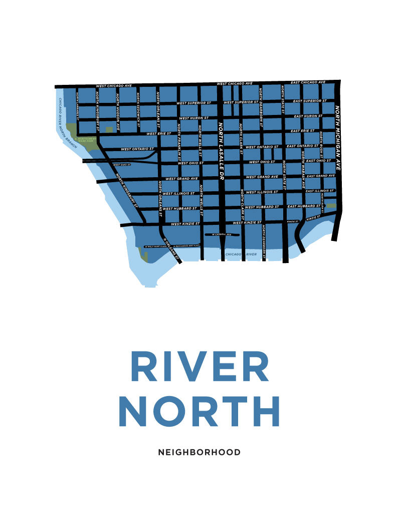 River North Neighbourhood Map Print