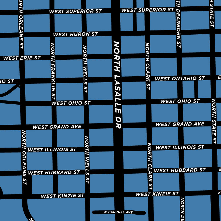 River North Area Chicago Map.River North Neighbourhood Map Print Jelly Brothers
