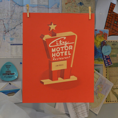 City Motor Hotel Screen Print