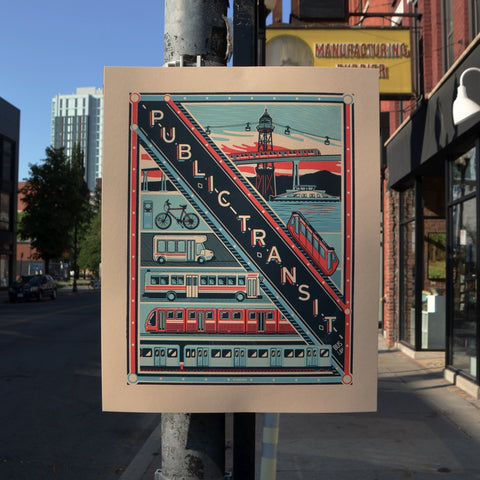 Public Transit Screen Printed Poster