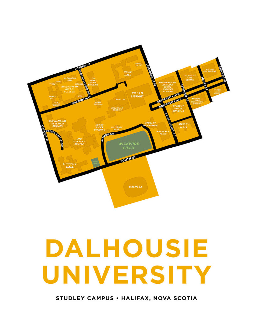 Dalhousie University Map Print - Studley Campus