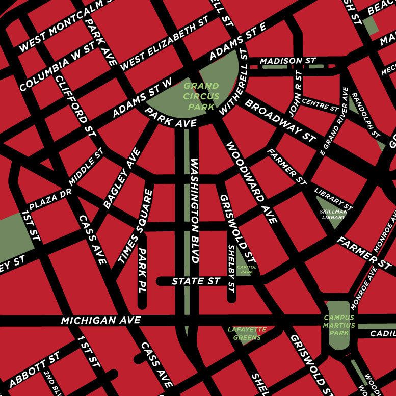 Downtown Detroit Map Print – Jelly Brothers on