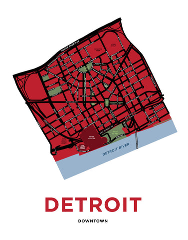 Downtown Detroit Map Print