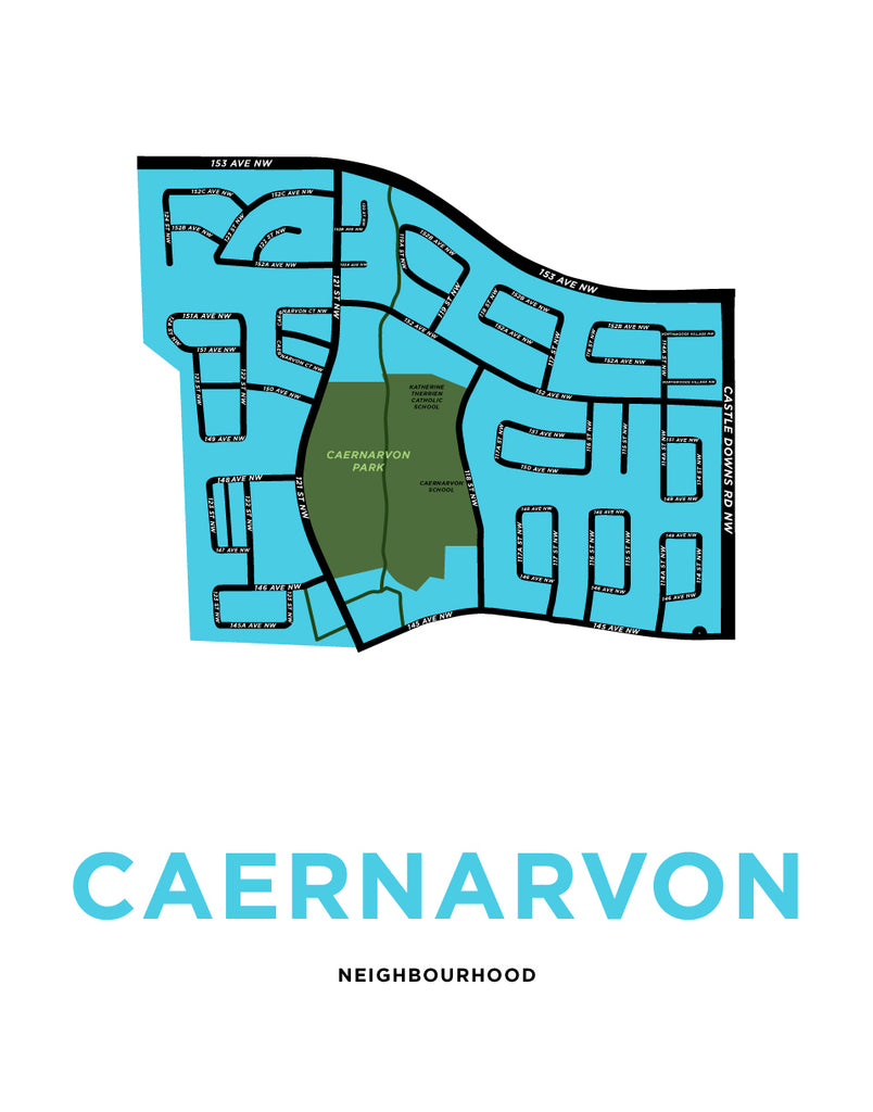 Caernarvon Neighbourood Map Print