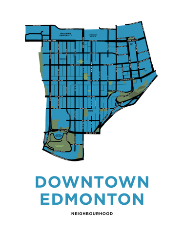 Downtown Edmonton Neighbourhood Map Print