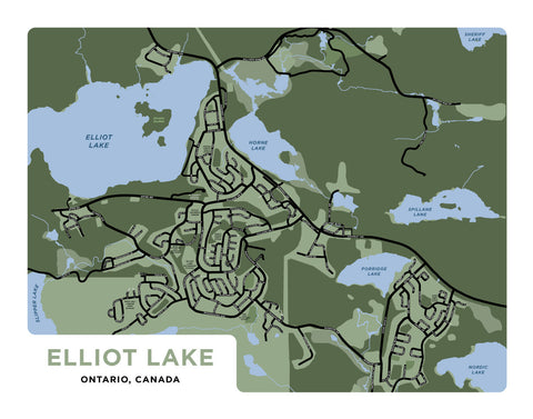 Elliot Lake Map Print