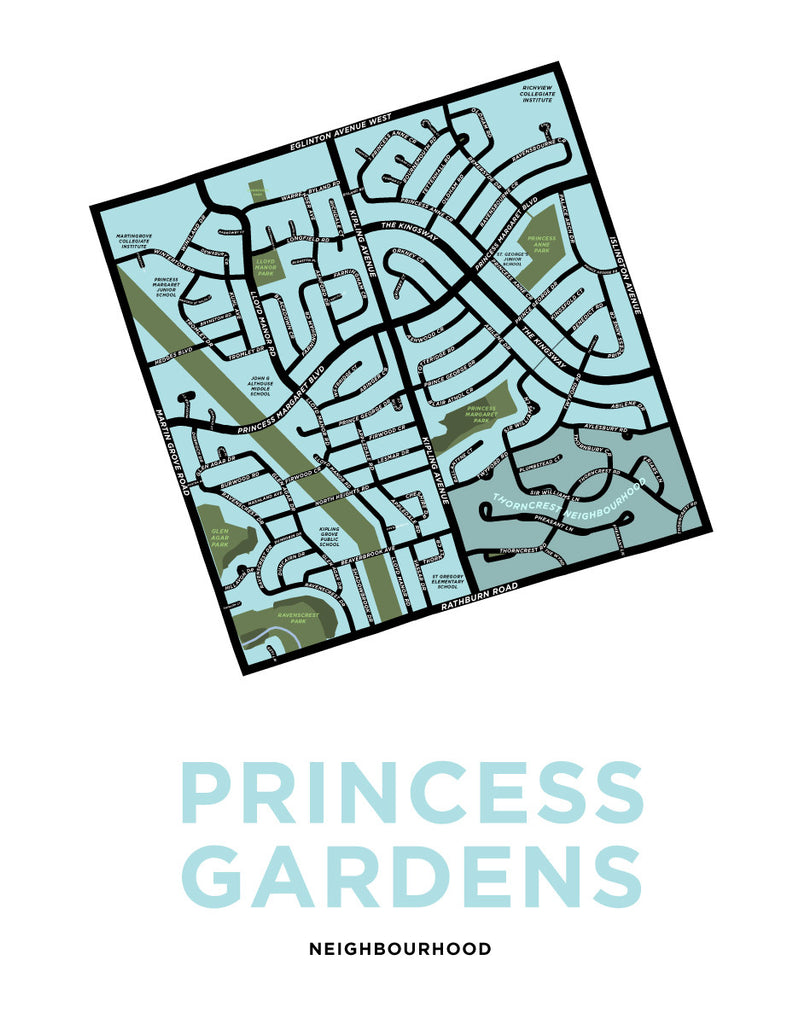 Princess Gardens Neighbourhood Map Print